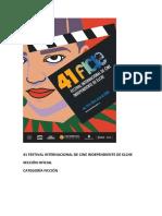 41 Festival Internacional de Cine Independiente de Elche. Sección Oficial Ficción