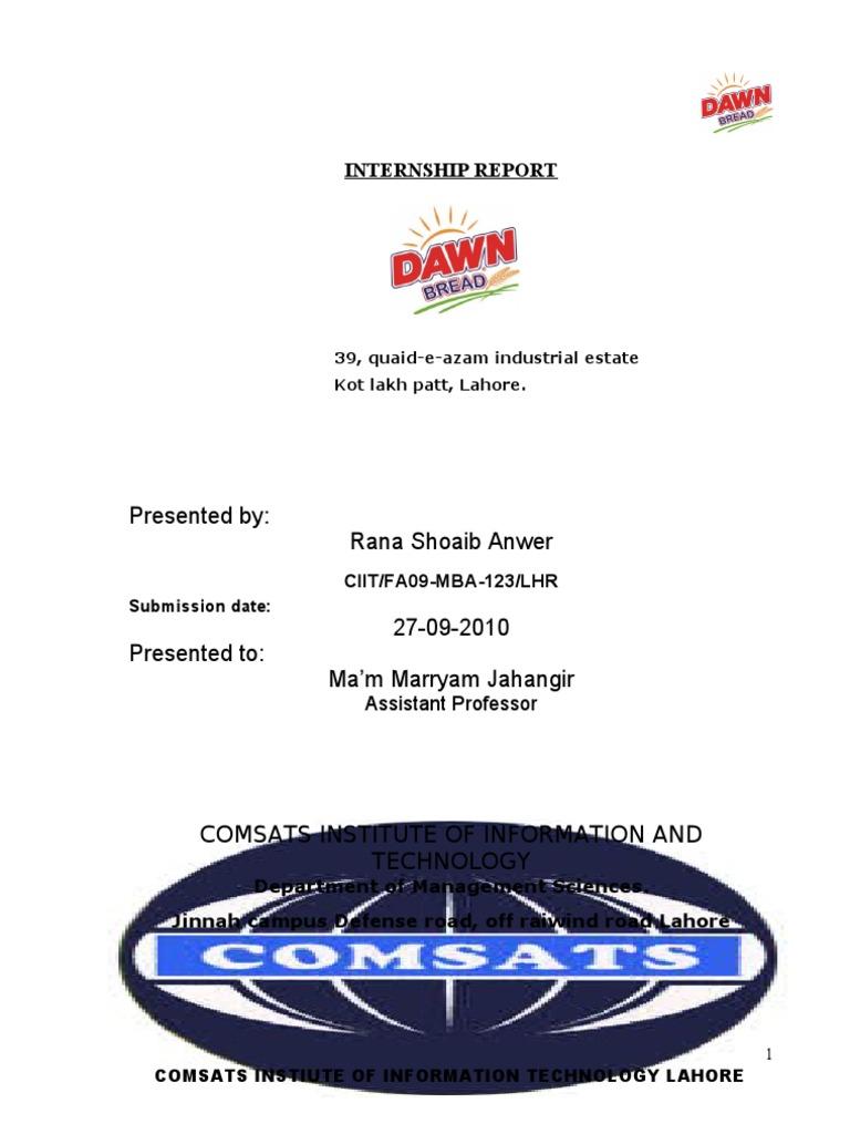 Dawn Bread Internship Report, | Dough | Strategic Management