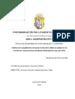 Auditoría de cumplimiento al manejo de desechos sólidos no peligrosos en el Gobierno Autónomo Descentralizado Municipal de Loja, año 2014.