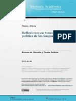 Reflexiones en Torno a Una Teoría Política de Los Lenguajes Políticos