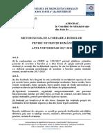 Metodologia de Acordare a Burselor Pentru Studentii Romani in Anul Universitar 2017 2018