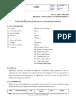 Gestion de Proyectos de Inversion Publica 15.10.16 Sylabus