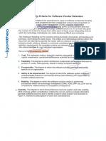 Six Criteria for Software Vendor Selection