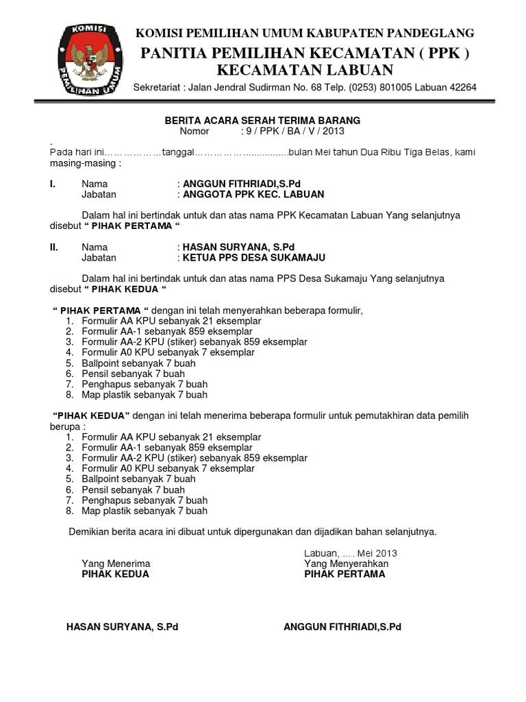 163112906 Berita Acara Serah Terima Logistik Autosaveddocx