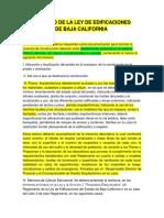 Reglamento de La Ley de Edificaciones Del Estado de Baja California