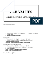 Lab Values Flash Card