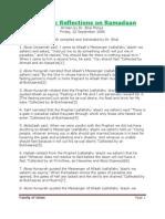 Prophetic Reflections on Ramadaan - Family of Islam