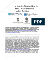 Newton Bhabha Fund Phd Placement - Application Form Template for Indian Scholars
