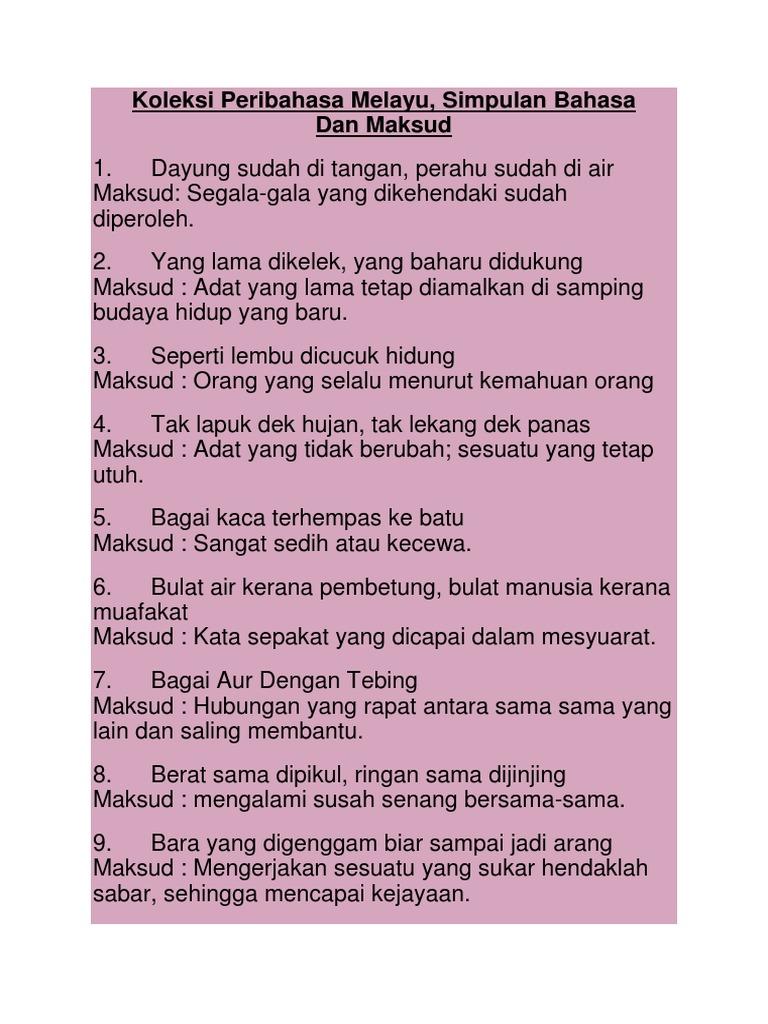 Koleksi Peribahasa Melayu Simpulan Bahasa Dan Maksud
