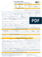 BDO Credit Card Application Form