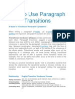 How to Use Paragraph Transitions