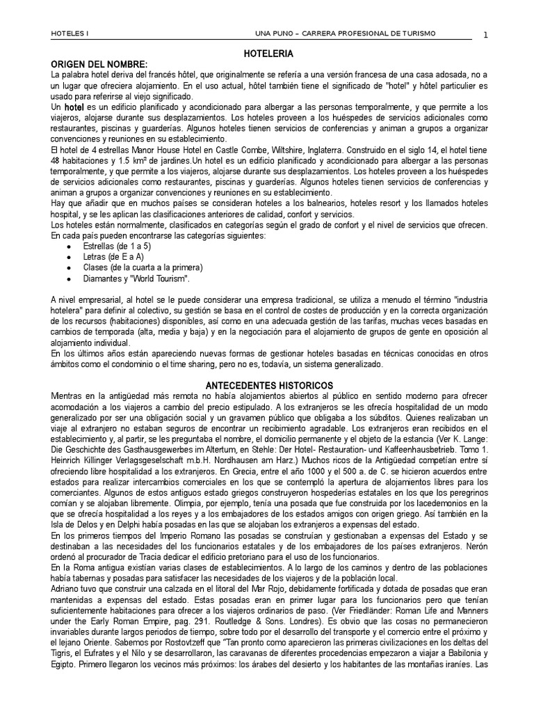 Historia Dela Hoteleria