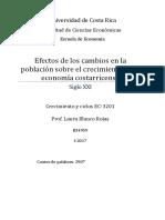 Efectos de Los Cambios de La Poblacion Costarricense Sobre El Crecimiento de La Economia