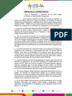 COMUNICADO A LA OPINIÓN PÚBLICA JUEGOS PANAMERICANOS LIMA 2019