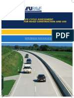 Life cycle assessment for road construction and use