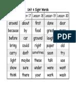 unit 4 sight words pdf