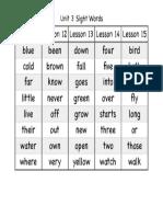 unit 3 sight words pdf