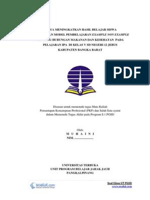 Contoh Laporan Pkp Ut Pgsd Ipa Hubungan Makanan Dan Kesehatan Pemantaan Kemampuan Profesional Pdgk4560