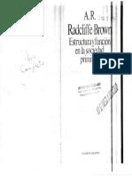 Introduccion Radcliffe Brown Estructura y Funcion en La Sociedad Primitiva1