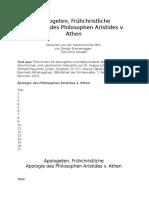 Apologie Des Philosophen Aristides Von Athen
