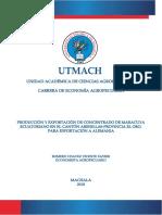 Producción y exportación de Concentrado de Maracuya