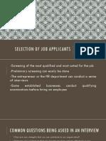 Selection of Job Applicants