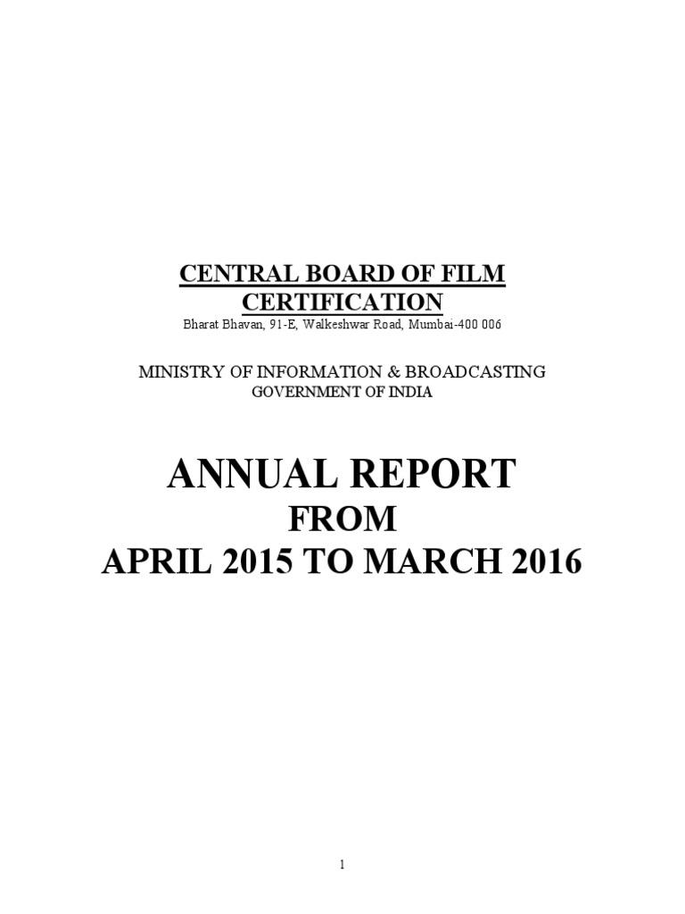 Cbfc Annual Report 2015 2016