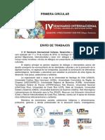 Primera Circular Envío Trabajos IV SICDES
