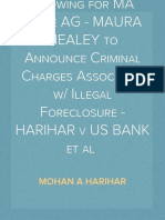 Expectations Growing for MA State AG - MAURA HEALEY to Announce Criminal Charges Associated with Illegal Foreclosure - HARIHAR v US BANK et al