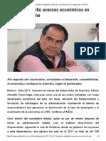 17-10-2017 Destaca Astudillo Avances Económicos en Segundo Informe.