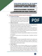 1.3 Especificaciones Tecnicas - Pozo Tubular