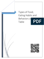 11th - 1 Types of Food, Eating Habits and Behaviors at the Table