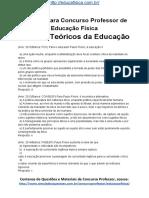 Simulado Concurso Professor de Educacao Fisica Questoes Concurso Pedagogia Simulado Revisao Teoricos Da Educacao Docx