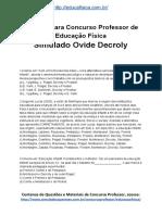 Simulado Concurso Professor de Educacao Fisica Questoes Concurso Pedagogia Simulado Ovide Decroly Docx