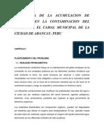 Influencia de La Acumulacion de Residuos en La Contaminacion Del Agua Por El Camal Municipal de La Ciudad de Abancay