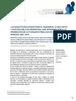 LAS NANOTECNOLOGÍAS PARA EL DESARROLLO INCLUSIVO Y SUSTENTABLE EN ARGENTINA