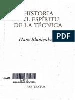 Blumenberg_historia Espiritual de La Tecnica