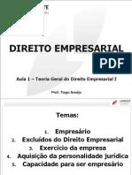Direito Empresarial - Aula 01 - Teoria Geral Do Direito Empresarial I