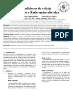 Mediciones de voltaje Corriente y Resistencias eléctrica