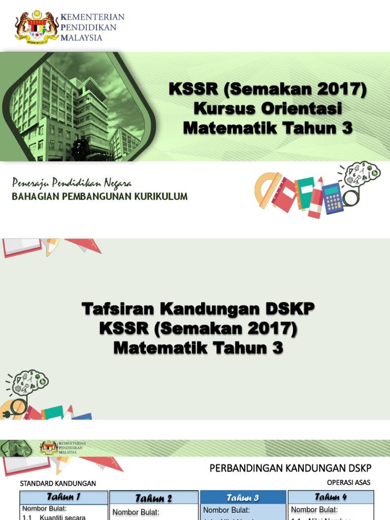 03 Kandungan Dskp Kssr Semakan 2017 Matematik Tahun 3