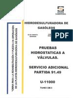 Pruebas Hidrostaticas a Valvulas y Servicio Adcional Partida 49