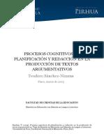 Procesos Cognitivos de Planificación y Redacción en La Producción de Textos Argumentativos