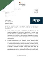 Tom Moyane Letter to President Ramaphosa
