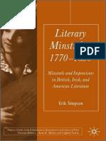 Literary Minstrelsy 1770 1830 Minstrels and Improvisers in British Irish and American Literature