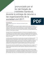 Entrega de Recurso a Las Organizaciones de La Sociedad Civil 2017