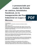 Inauguración Del Parque Industrial en Lagos de Moreno
