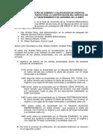 Acta de Apertura de Sobres y Calificacion de Ofertas
