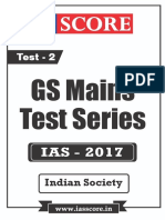 GS Score 2017 Mains Test 2 With Solutions - Indian Society