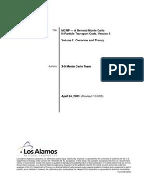 MCNP5 | Monte Carlo Method | Neutron