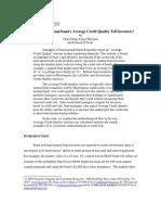 Average Credit Quality in Bond Portfolios